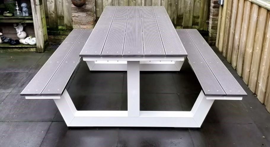 witte industrial picknicktafel
