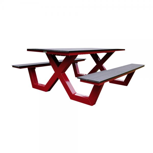 picknicktafel rood kruispoot