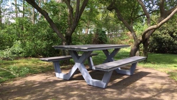 Picknicktafel grijs frame met grijze plank