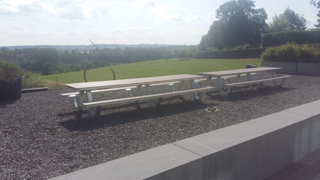 4 meter picknicktafels staal met composiet