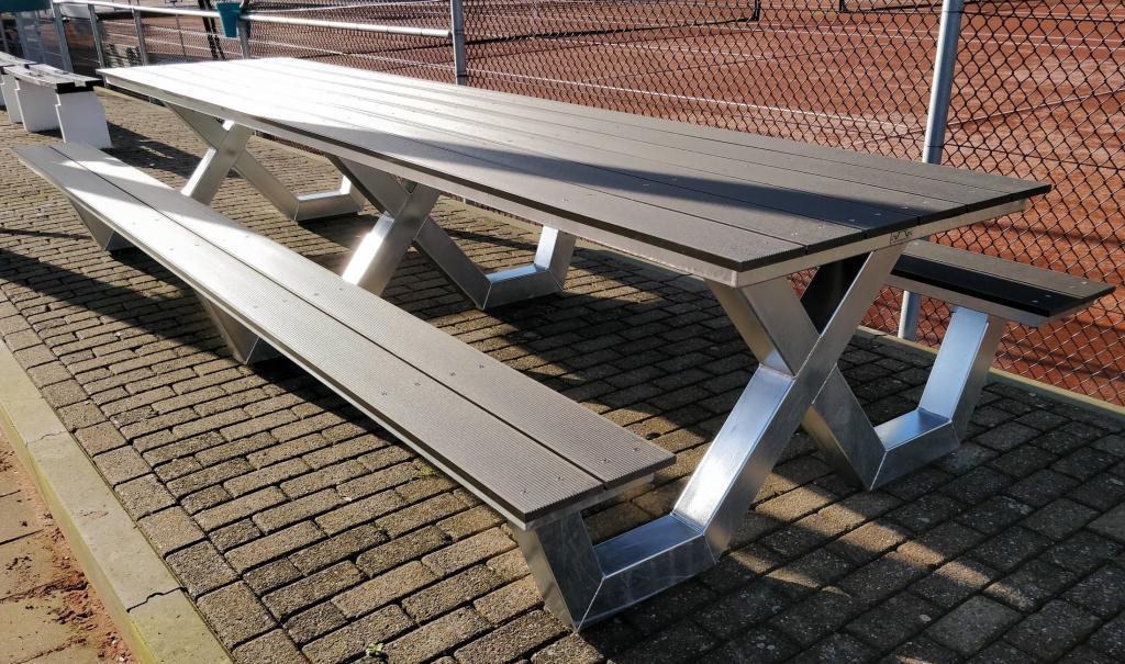 Kruispoot picknicktafel 4 meter tennis club