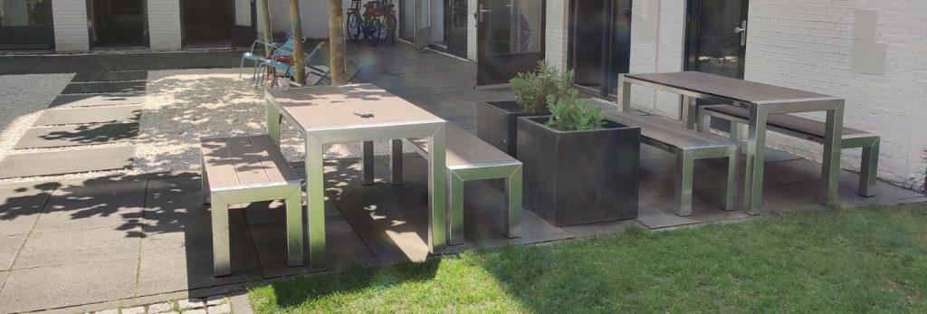 stalen tuin set met losse banken