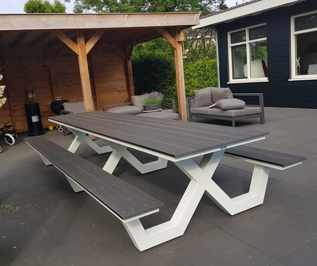 Kruispoot picknicktafel 4 meter wit