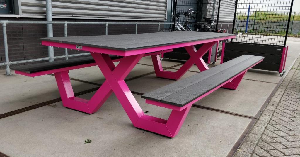 Kruispoot picknicktafel Binx roze pink color
